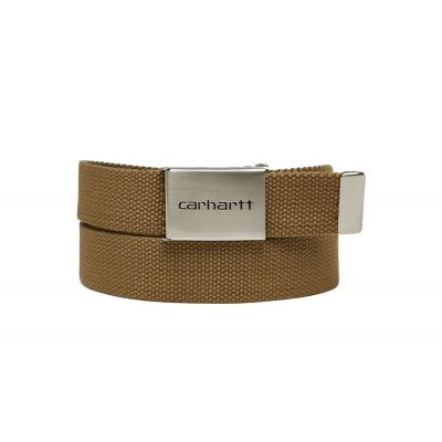 Carhartt WIP Clip Belt Chrome - Leather Brown