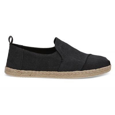Toms Black Washed Canvas Alpargata