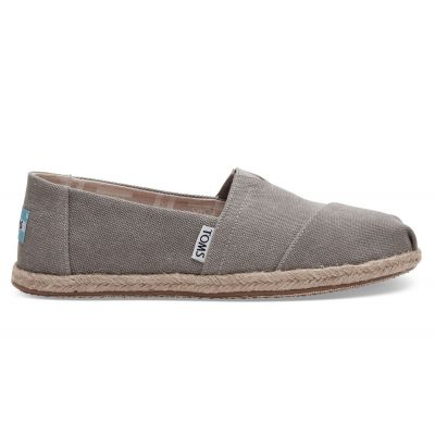 Toms Drizzle Grey Washed Canvas Alpargata